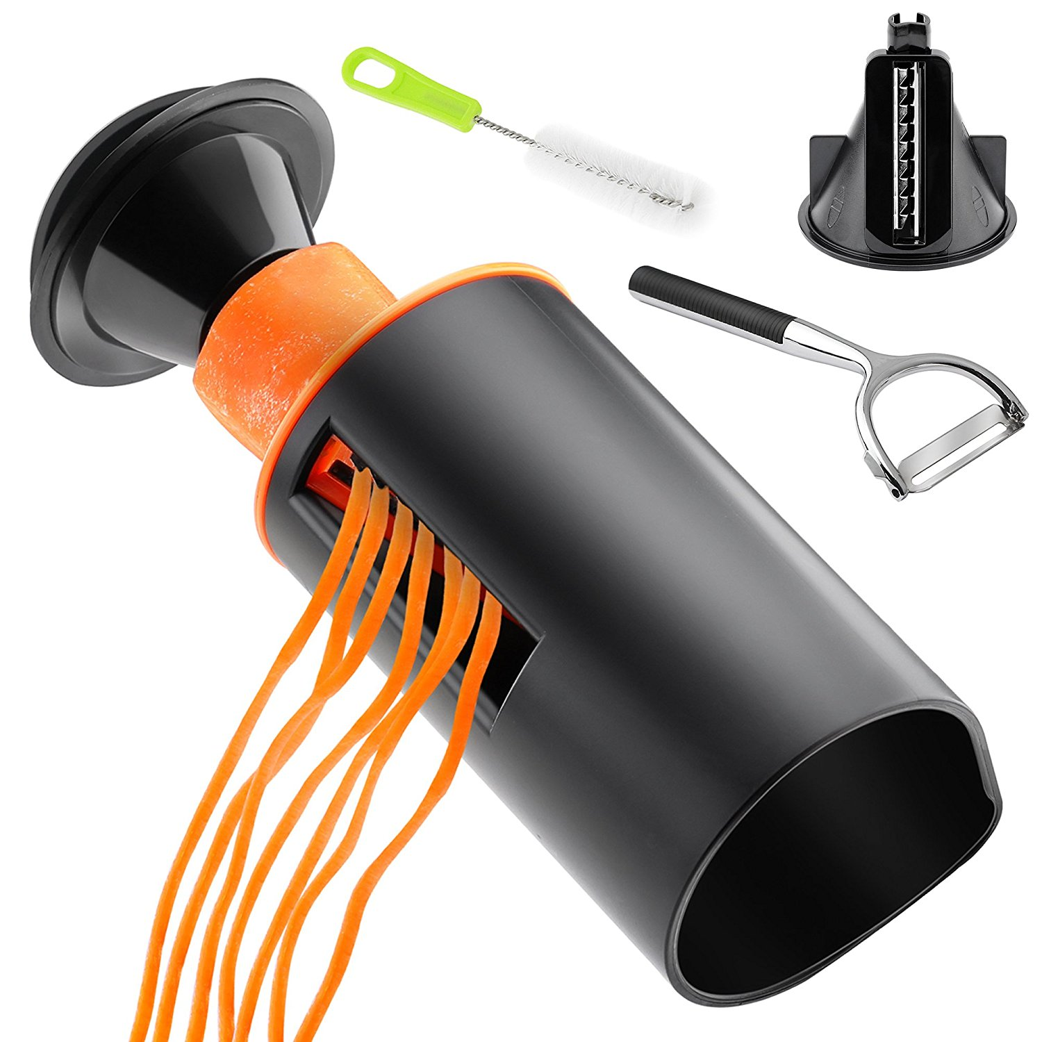 Spiral Slicer Spiralizer Set - Vegetable Spiralizer & Cutter - Zucchini Pasta Noodle Spaghetti Maker - Stainless Steel Peeler - Cleaning Brush - Kitchen Tool for Health & Diet Food, Orange & Black