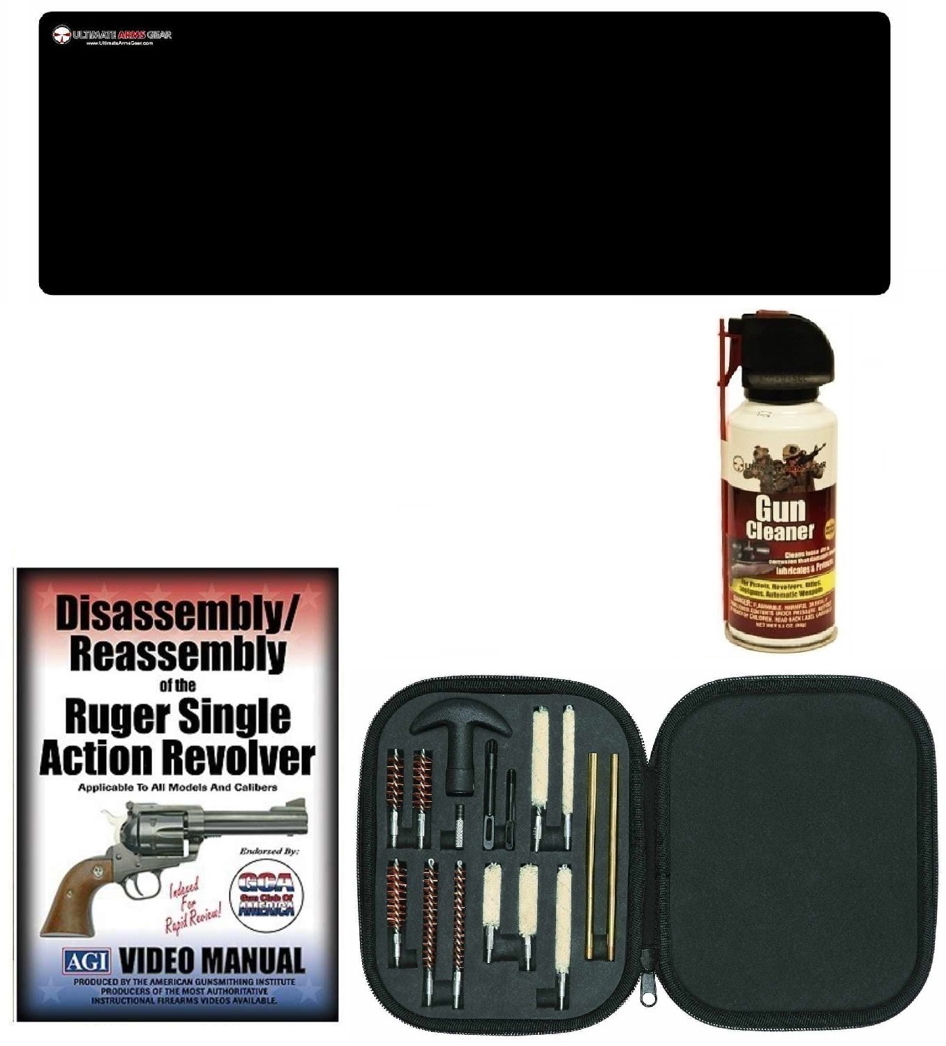 AGI DVD Ruger Single Action Revolvers Disassembly Reassembly + Ultimate Arms Gear Gunsmith & Armorer Cleaning Gun Mat +... by