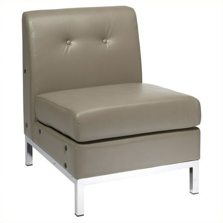 (Wall Street Armless Chair, Smoke Faux Leather)