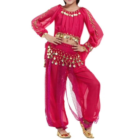 BellyLady Kid Tribal Belly Dance Costume, Harem Pants & Top For Halloween-rose red-L