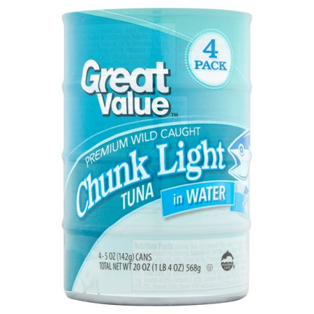 (4 Cans) Great Value Chunk Light Tuna in Water, 5 oz