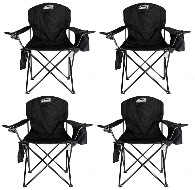 4-Pack Coleman Cooler Quad Chairs With Built-In Cooler, Black | 4 x 2000020267 by