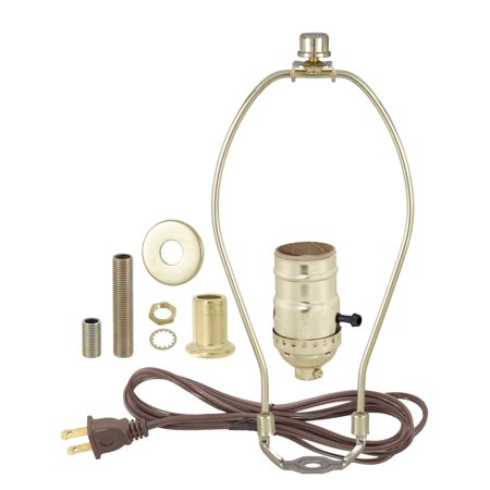 Brass Plated Finish Table Lamp Wiring Kit With 7 Inch Harp, 3-Way Socket, Brass Plated Socket and Matching Hardware By B&P