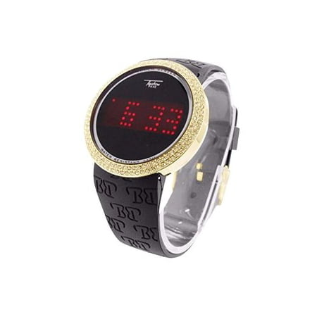 Techno Pave Watch Touch Screen Display Mens Gold Finish Simulated Diamond