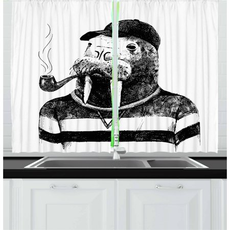Indie Curtains 2 Panels Set, Hand Drawn Dressed Up Walrus Animal Long Teeth Smoking Pipe Antromorphic Sketch Art, Window Drapes for Living Room Bedroom, 55W X 39L Inches, Black White, by Ambesonne