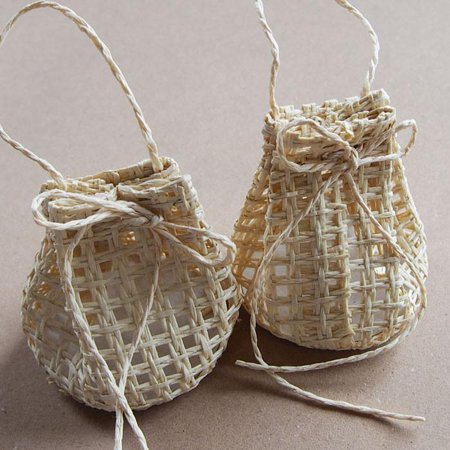 Natural Woven Straw - Net Sack Bag Woven Straw Favor Pouches, 2-3/4-inch, 12-Piece, Natural