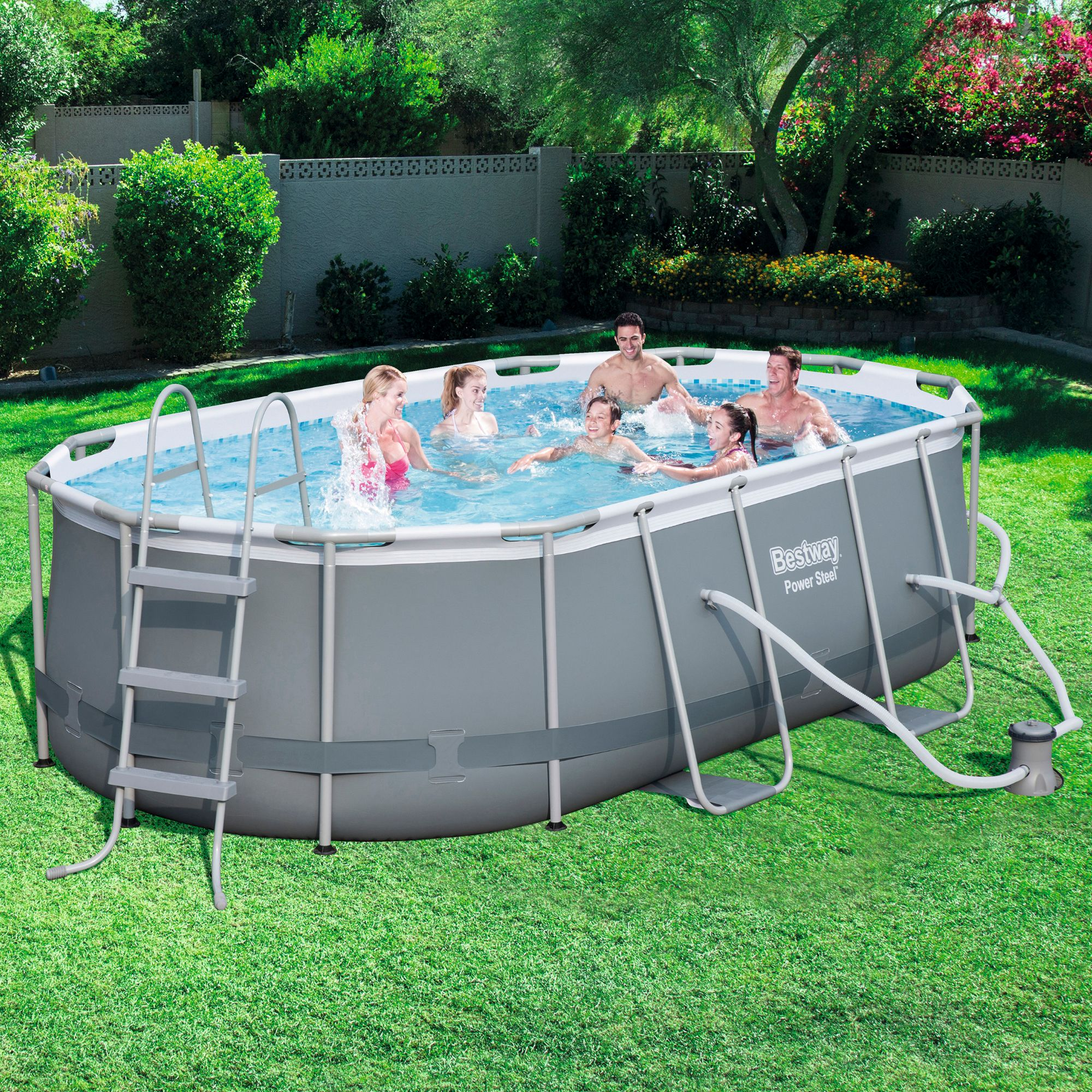 "Power Steel 14' x 8'2"" x 39.5"" Oval Pool Set"