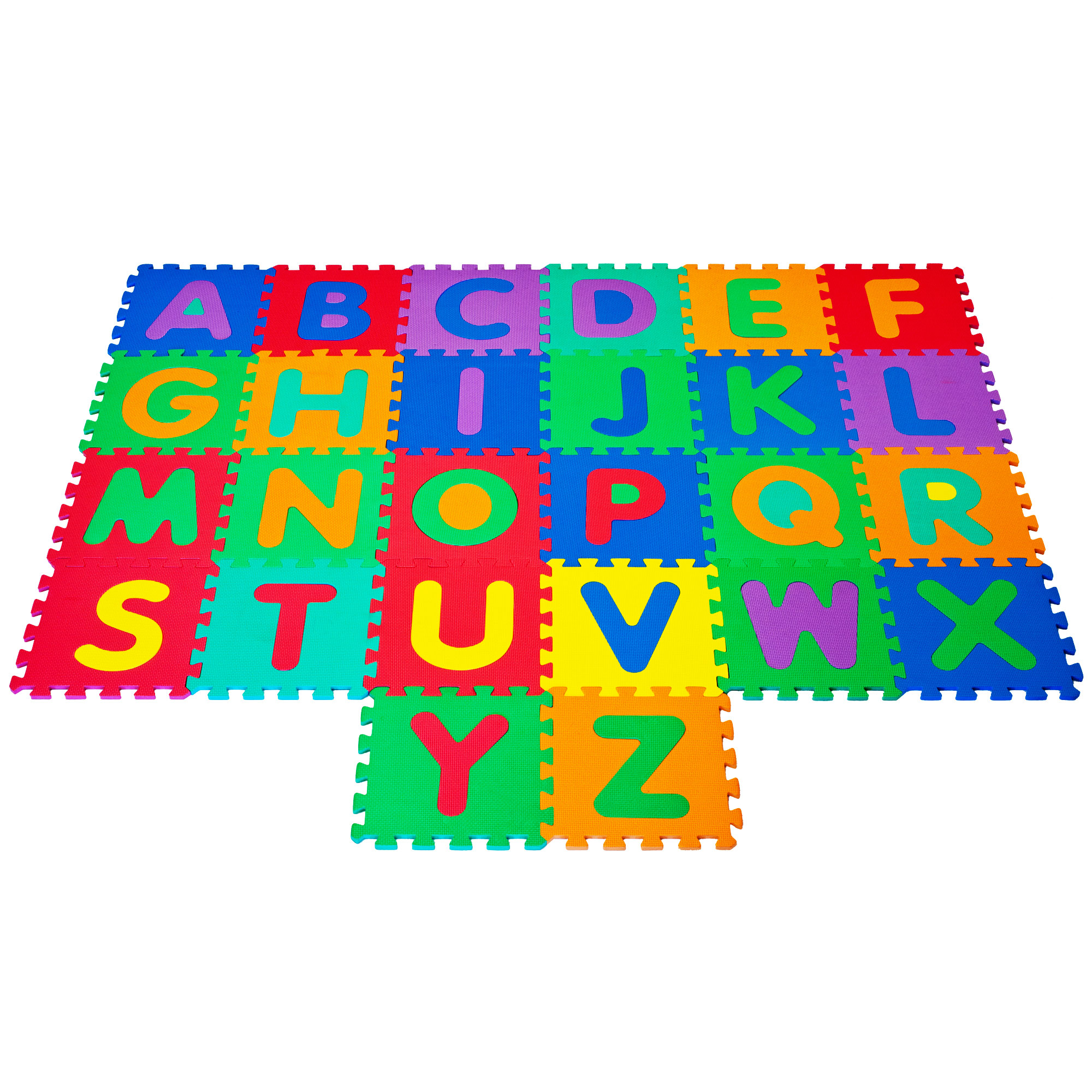 Interlocking Foam Tile Play Mat with Letters - Nontoxic Children's Multicolor Puzzle Tiles for Playrooms, Nurseries, Classrooms and More by Hey! Play!