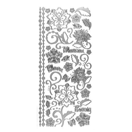 Stickers Whimsical Flowers Silver