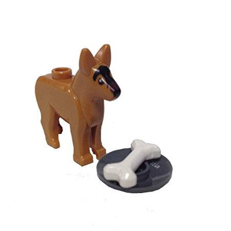 - Brick Building Sets Original LEGO® Parts: Dog Alsatian German Shepherd with Dish and Bone #92586 (Medium Dark Flesh)