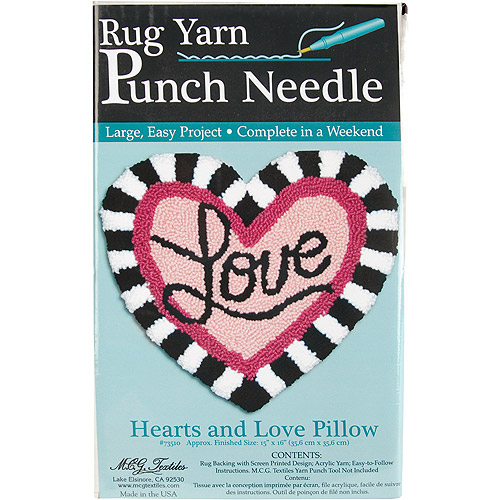 MCG Textiles Hearts and Love Pillow Rug Yarn Punch Needle Kit Multi-Colored