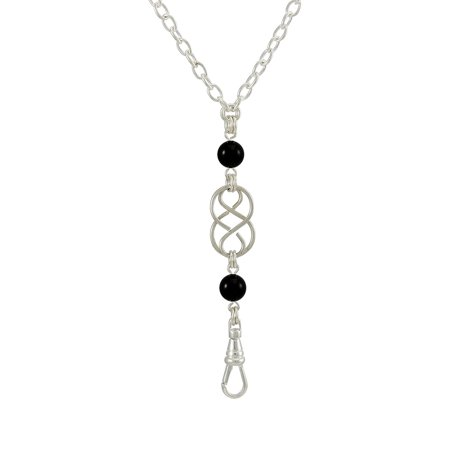 Brenda Elaine Jewelry- Women's Fashion Lanyard with Silver Celtic Knot and Black Swarovski Pearl Pendant and No Rear (Celtic Jewellery)