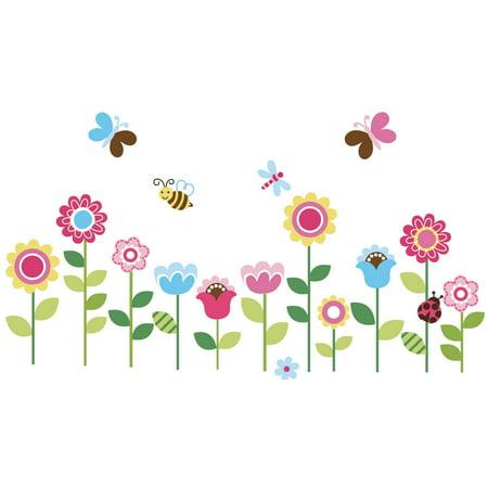 Lovely Garden Flowers Nursery/Kids Room Peel & Stick Wall Decals (Garden Wall Graphics)