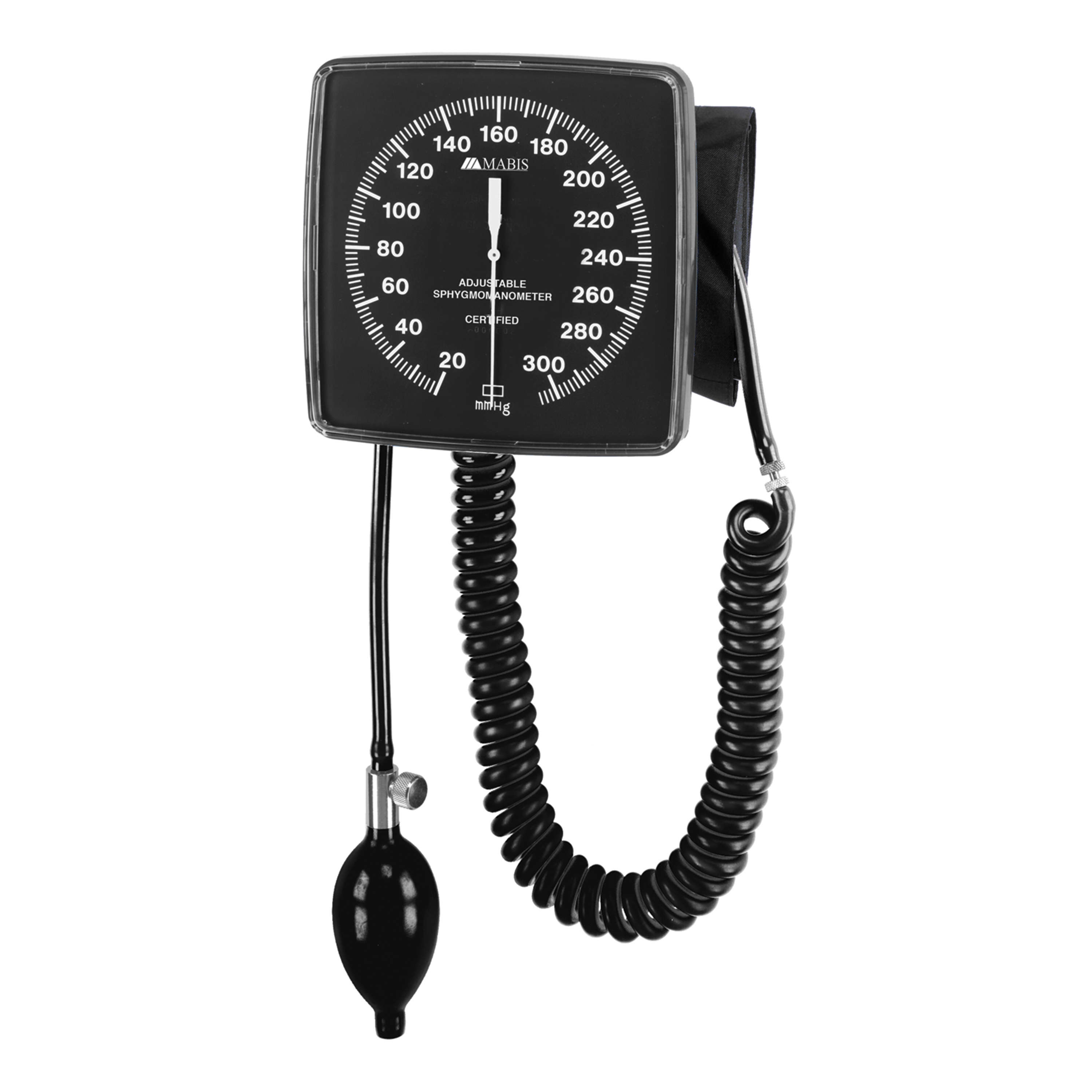 MABIS Legacy Wall-Mounted Clocks Aneroid Sphygmomanometer, Black