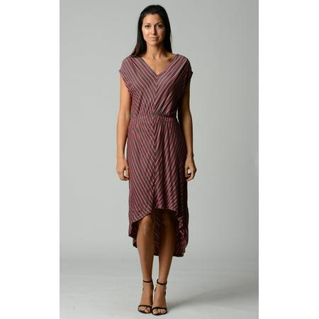 Urban Love Women's Striped Hi-Low V-Neck Dress - Flat Grey -