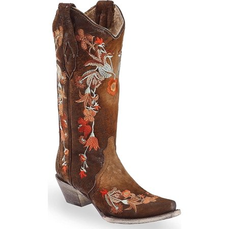 CORRAL Women's Floral Embroidered Lamb Leather Cowgirl Boot Snip Toe Chocolate 10 M - Leather Cowgirl Boots