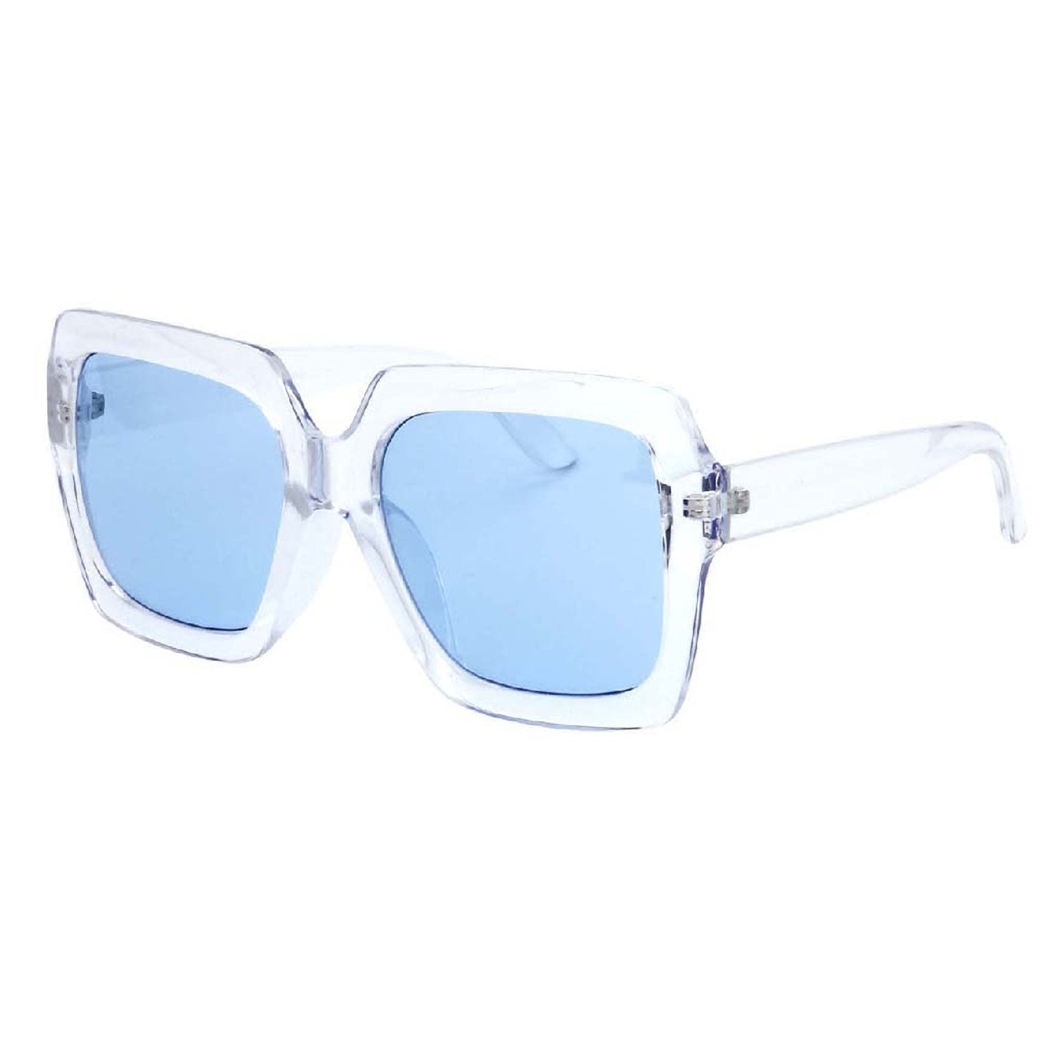 MLC EyewearEstel UV400 Retro Thick Clear Frame Horn Rimmed Color Two Tone Sunglasses
