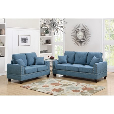 2pcs Sofa Set Living Room Sofa And Love-seat Blue Cotton Blended Fabric Couch Wood legs Pillows Cushion Nickel Studs Trim Blue Living Room Set