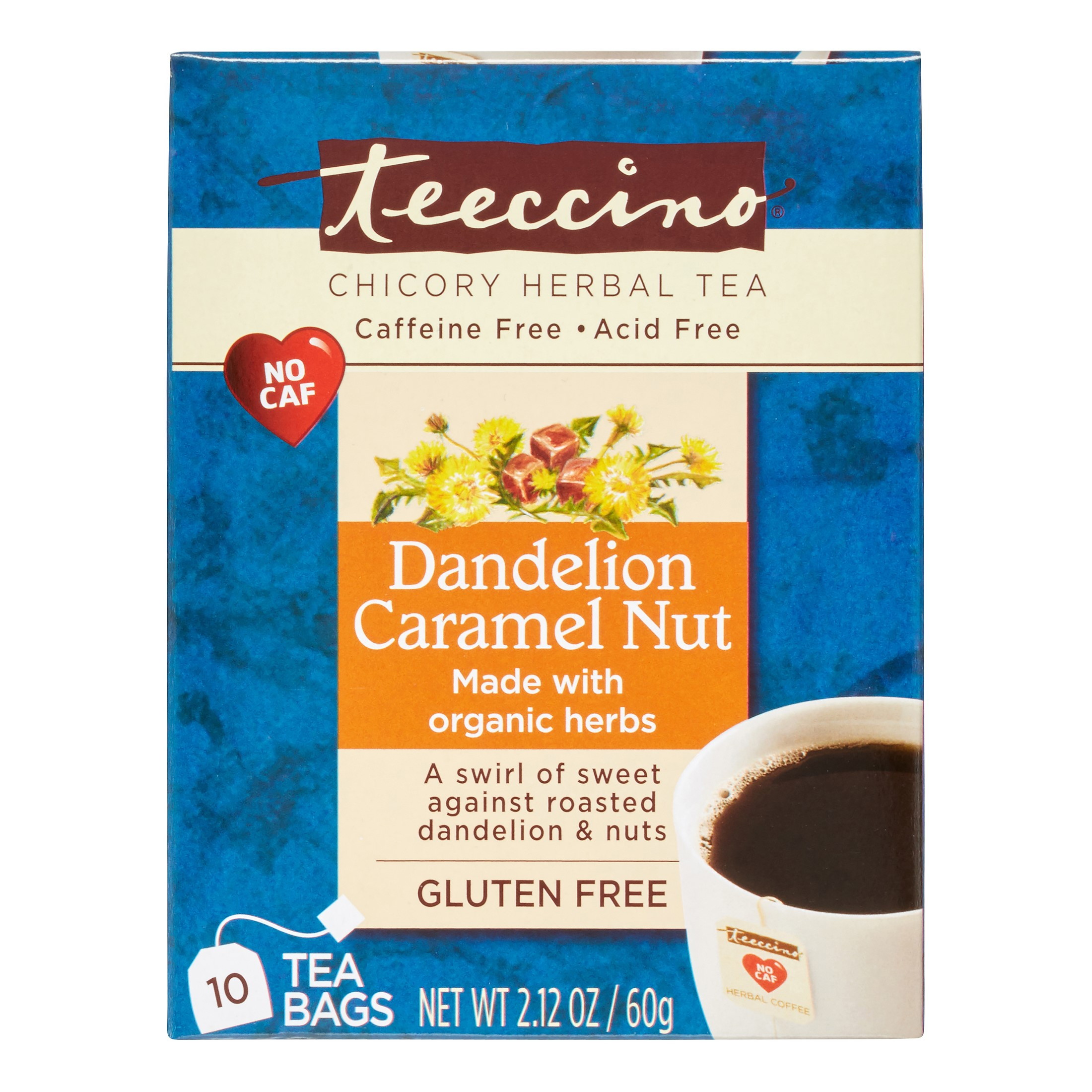 Dandelion Caramel Nut Chicory Herbal Tea 10ct