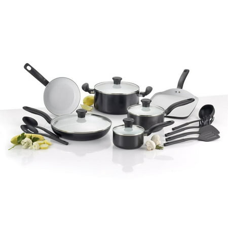 Black Ceramic Steel (T-fal,Initiatives 16 Pc. Ceramic Cookware Set, PTFE and PFOA-free, Black, C921SG )