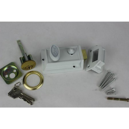 - Night Latch And Locking First Watch Door Guards 1106 White Solid Brass