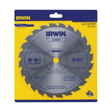 Irwin 8-1/4 Dia. x 5/8 in. Carbide Classic Circular Saw Blade 24 teeth 1