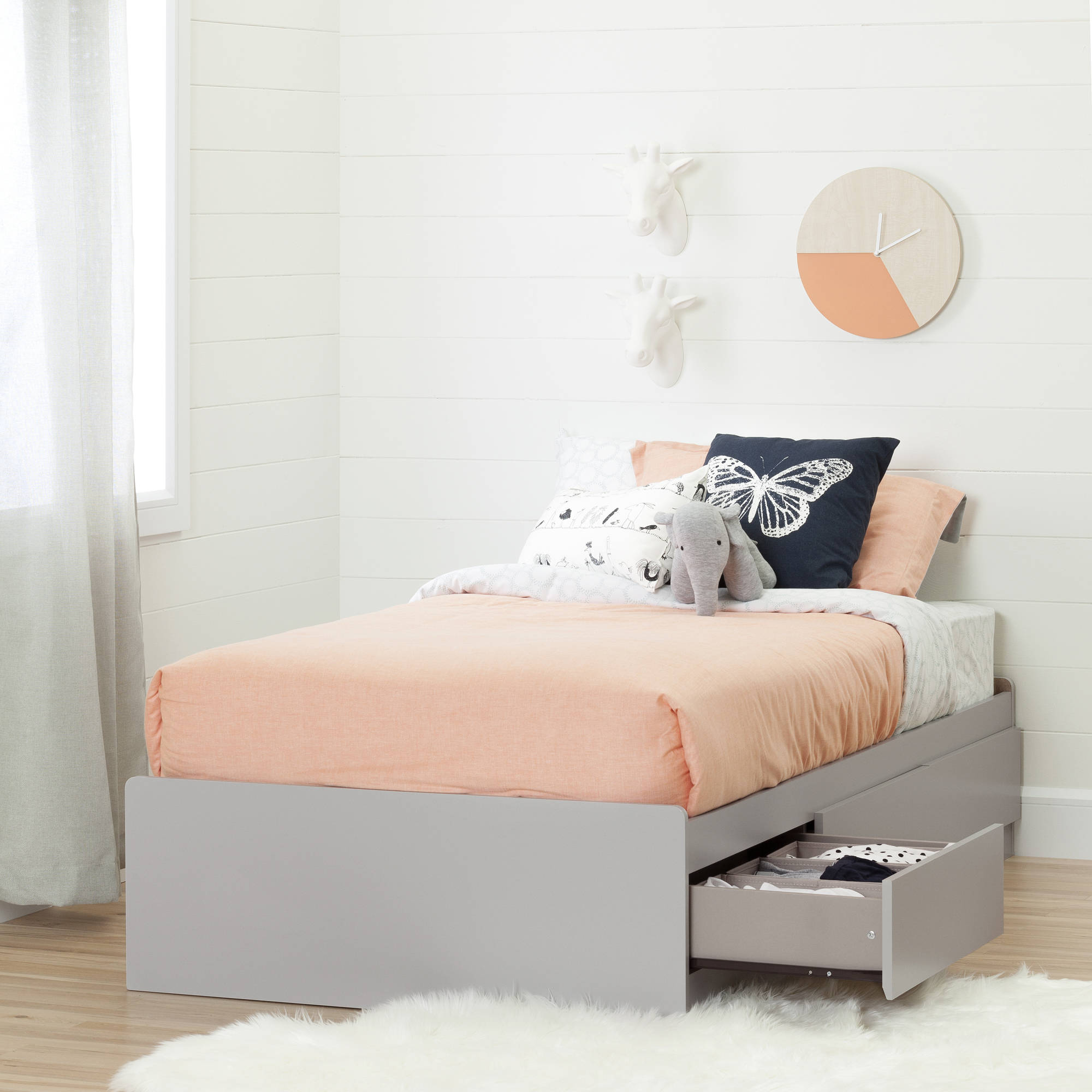 South Shore Cookie Twin Mates Bed with 3 Drawers, Soft Gray