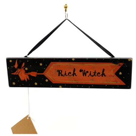 Halloween RICH WITCH PLAQUE Wood Broom Sign Flying 21172 - Halloween Signs Wood