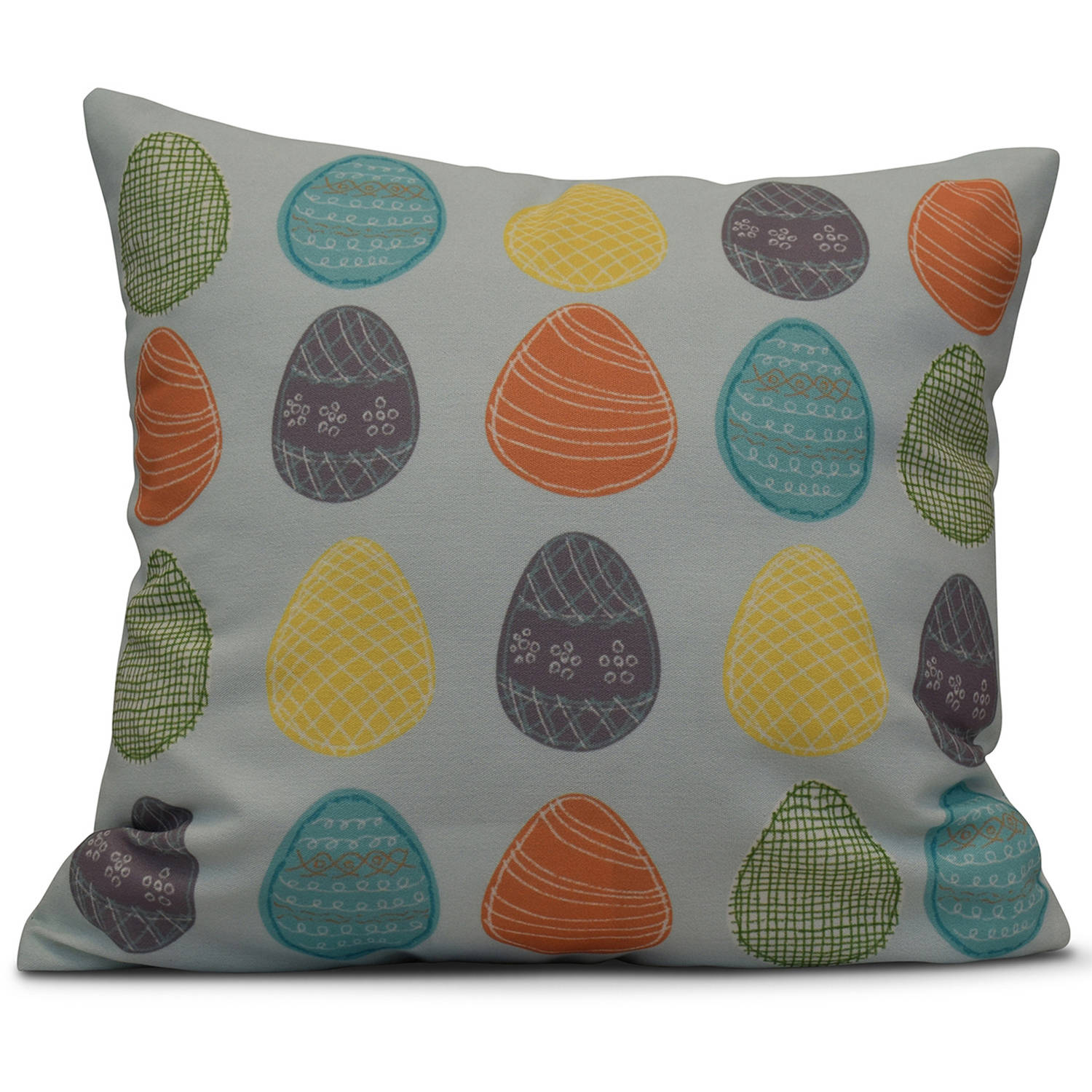 "Simply Daisy 16"" x 16"" Eggs-ellent! Holiday Geometric Print Pillow"