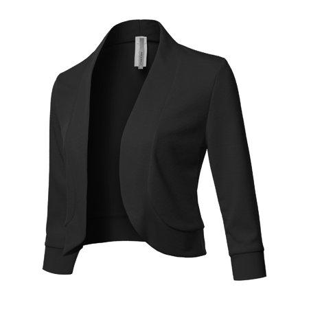 FashionOutfit Women's Solid 3/4 Sleeves Open Front Bolero Blazer - Made In - Purple Joker Blazer
