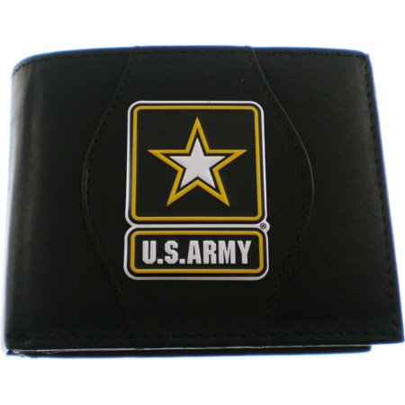 - U.S. Army Star Logo Metal Badge Mens Leather Wallet [Black]