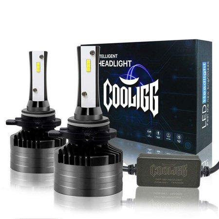 1 Pair Cooligg 9012 LED Headlight Bulbs Car Driving Lamp 12000LM Upgraded Super Bright 6000K 360°Adjustable Beam Pattern CSP Cool White