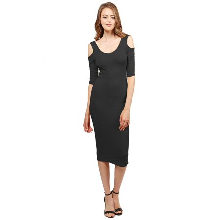 FashionOutfit Women's Solid Soft Stretch Ribbed Cut out Shoulder Bodycon Midi Dress (Heart Cut Out Back Dress)