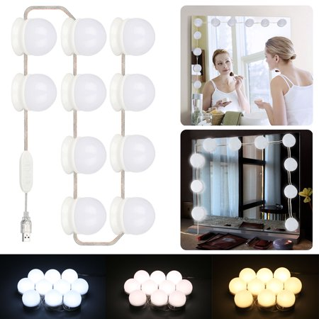 TSV 10 LED Dimmable Vanity Mirror Lights Kit Bulbs For Makeup Hollywood Style Mirror