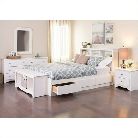 Prepac Monterey Queen 5 Piece Bedroom Set in White ()