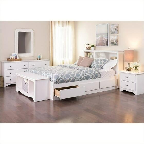 Prepac monterey queen 5 piece bedroom set in white 7 piece queen bedroom furniture sets