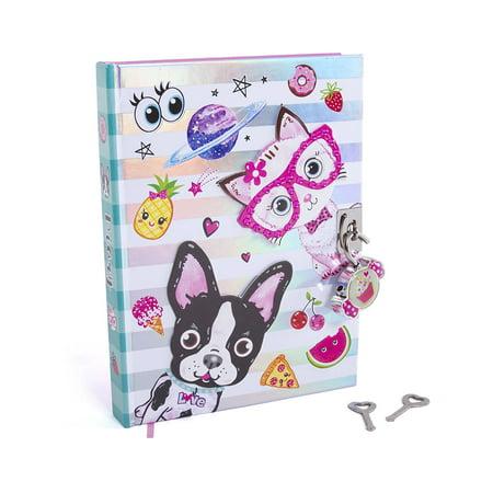 "Hot Focus Best Pals Secret Diary with Lock - 7"" French Bulldog & Kitten Theme Journal Notebook (HFC-251BP)"