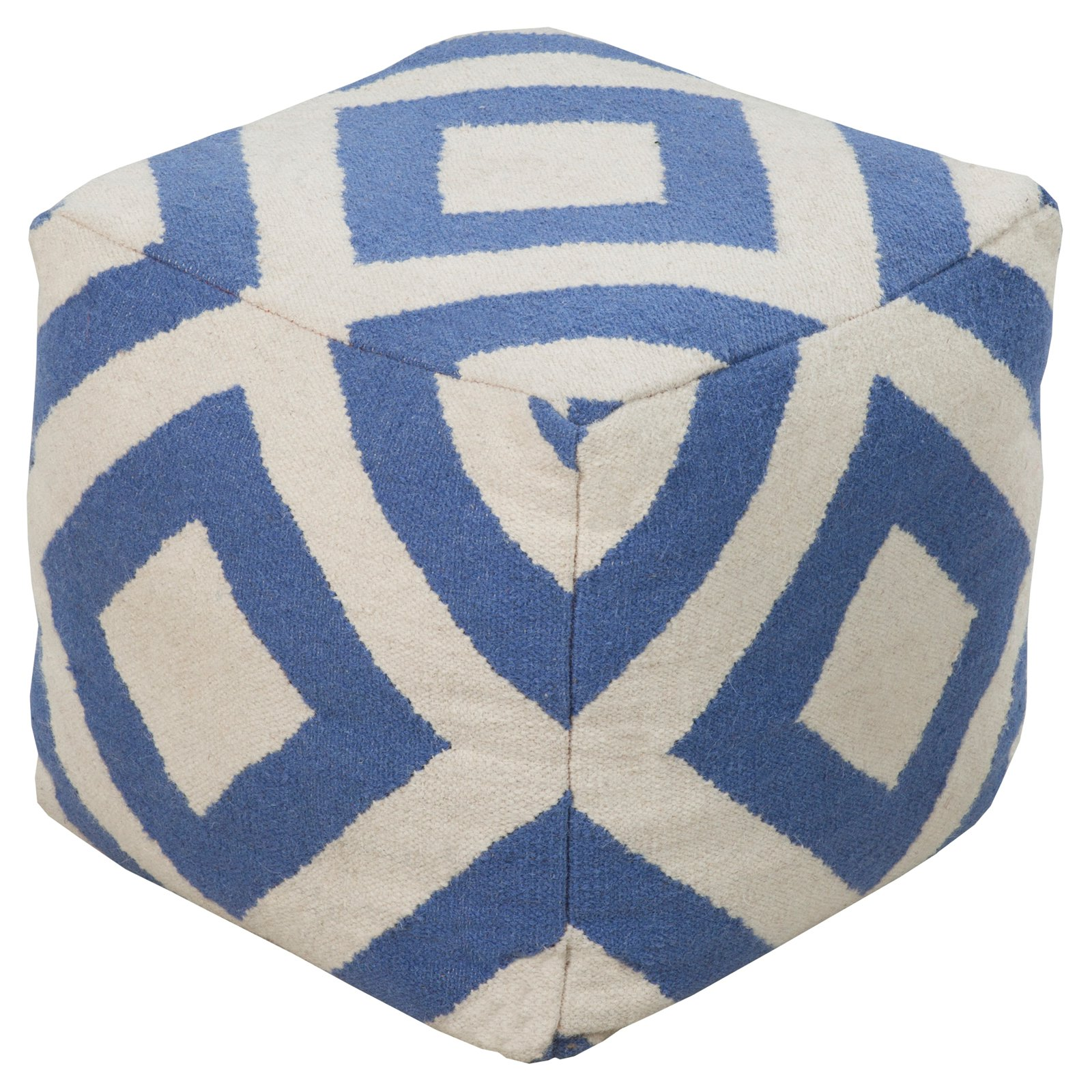 Surya 18 in. Diamond Cube Wool Pouf by Surya