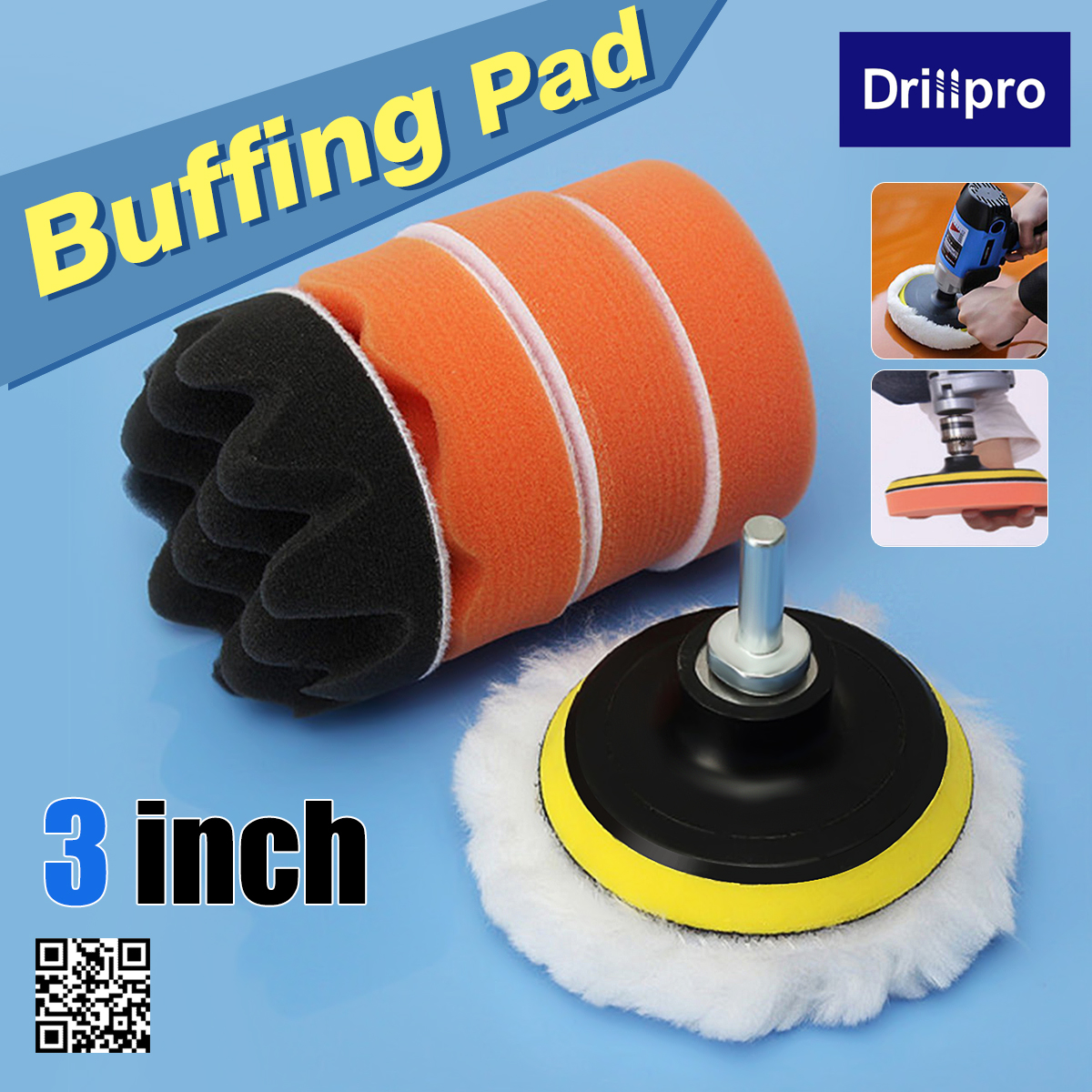 6Pcs 3 Inch Auto Car Buffing Pad Kit Compound Polishing With M10 Drill Adapter