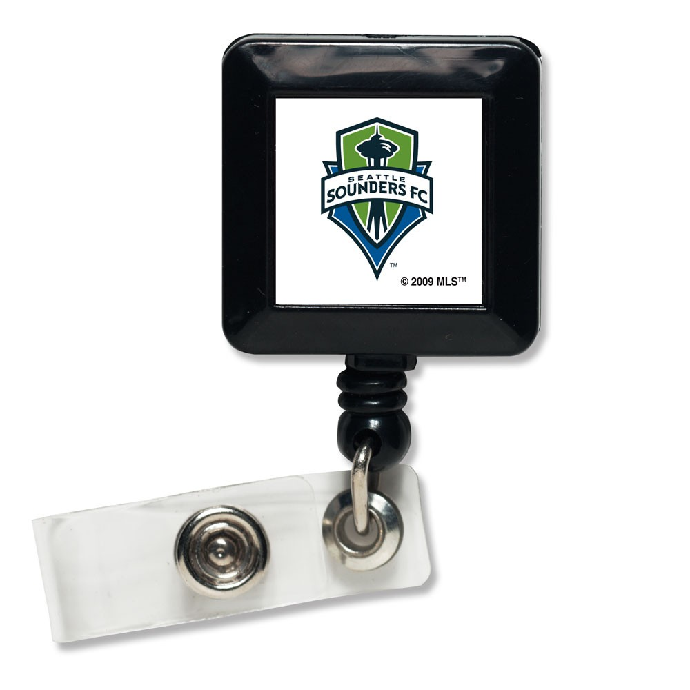 Seattle Sounders FC Official MLS 1 inch x 1 inch  Retractable Badge Holder Key Chain Keychain by WinCraft