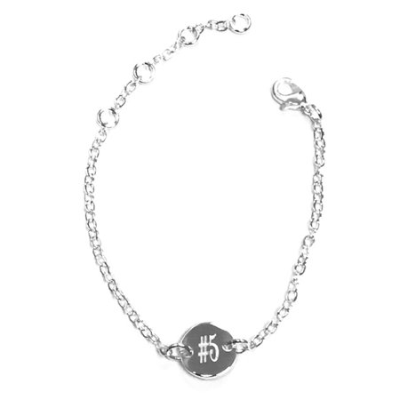 EmeraldPalms Personalized Round Bracelet Silver Plated Adjustable to 7.5