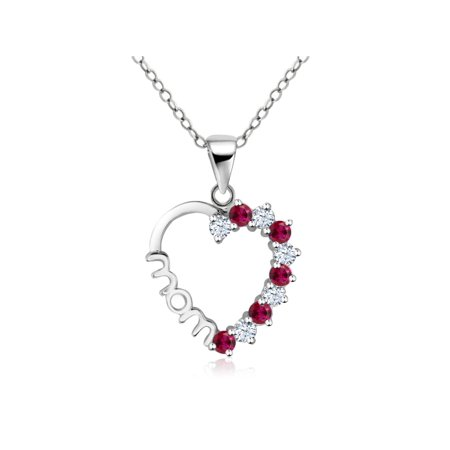Sterling Silver Created White Sapphire Created Ruby Heart MOM Pendant 18