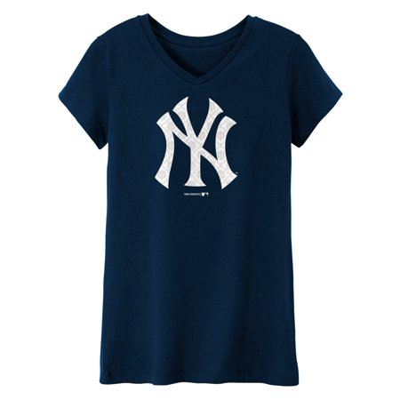 MLB NEW YORK YANKEES TEE Short Sleeve Girls 50% Cotton 50% Polyester Team Color 7 - 16