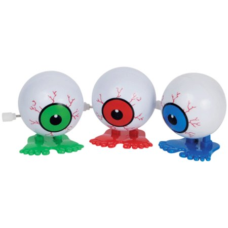 Loftus Jumping Eyeball Halloween Wind-Up Toy, Assorted, 12 Pack - Blinking Halloween Eyeballs