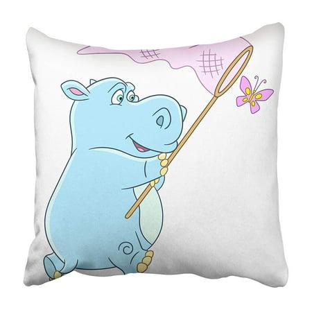 CMFUN Colorful Clipart Cartoon Hippo Hippopotamus Behemoth and Butterfly and Children Big Pillowcase 16x16 (Clipart Kids)