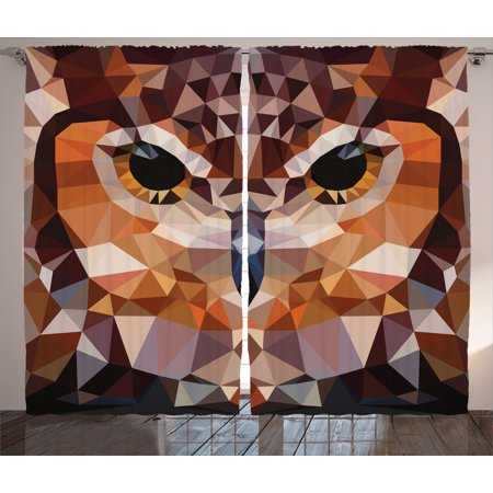 Geometric Decor Curtains 2 Panels Set, Mosaic Owl Head in Triangle Forms Retro Style Funky Geometric Art Print, Window Drapes for Living Room Bedroom, 108W X 84L Inches, Brown Orange, by Ambesonne