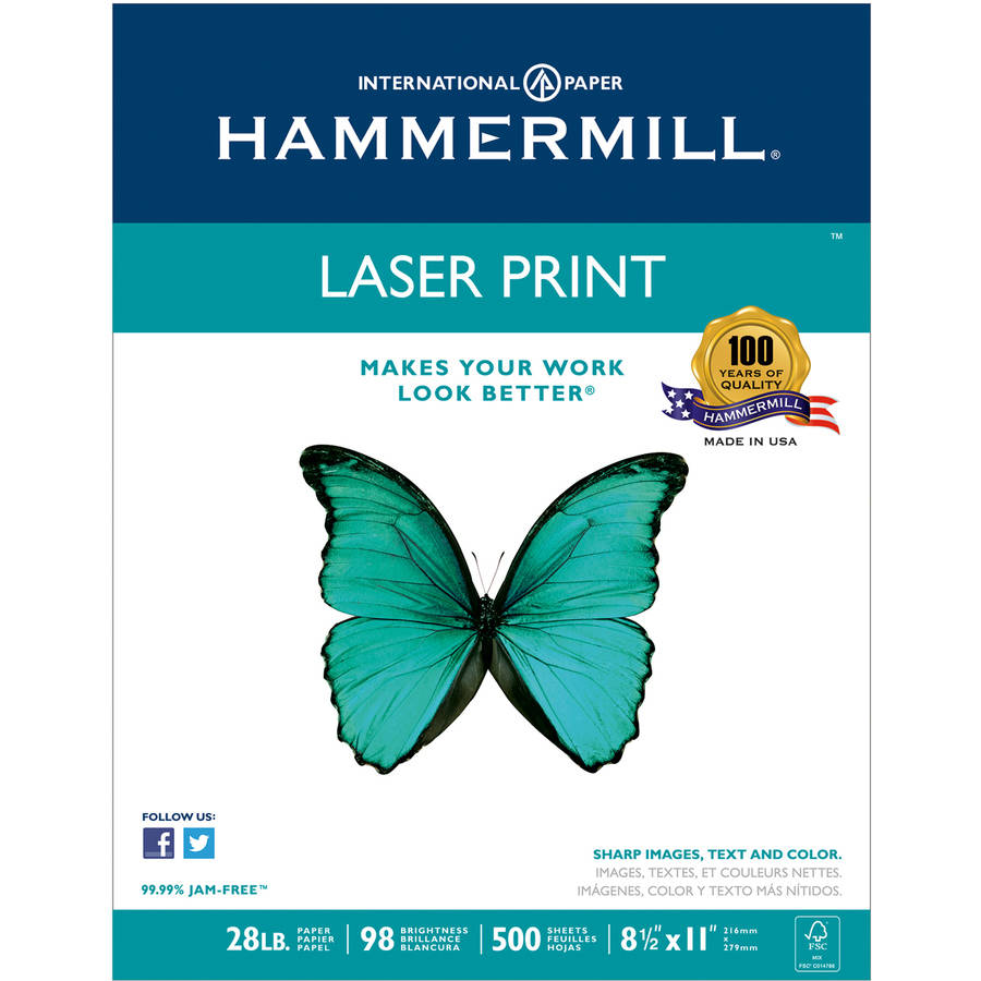 "Hammermill Laser Print Office Paper, 98"" Brightness, 28 lb, 8.5"" x 11"", White, 500-Count/Ream"
