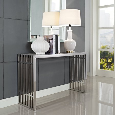 Gridiron Console Table Silver - Modway