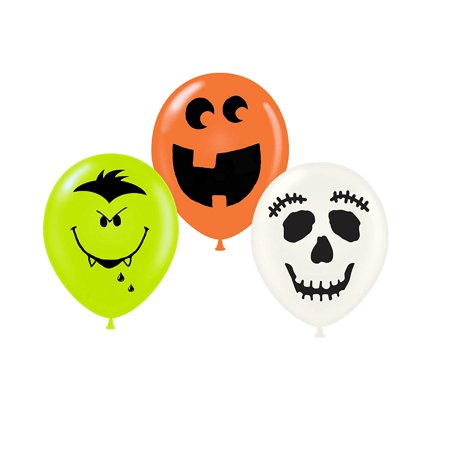 Halloween Balloons Fun Faces 11 Inch Balloon Assortment Pkg/12 - Halloween Balloon Faces