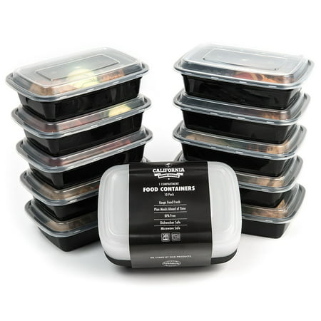 1 Compartment Container - 10 Meal Prep Food Storage Containers 1 Compartment Reusable Bento Box